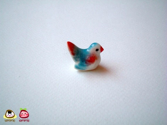 Miniature Blue and Red Ceramic Bird Figure, desk buddy, porcelain, small bird, tiny animal, small animal, mini bird, little bird, iammie