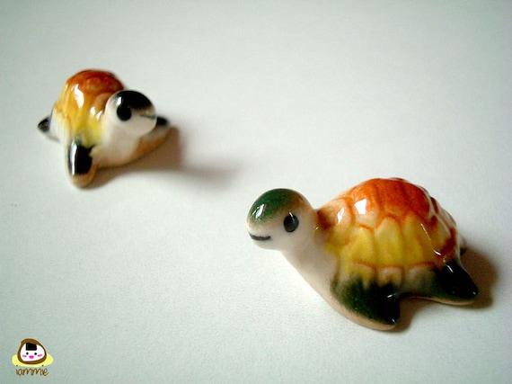 Miniature Ceramic Turtle Figure, tortoise, green, yellow, brown, porcelain, small turtle, tiny animal, small animal, mini turtle, iammie