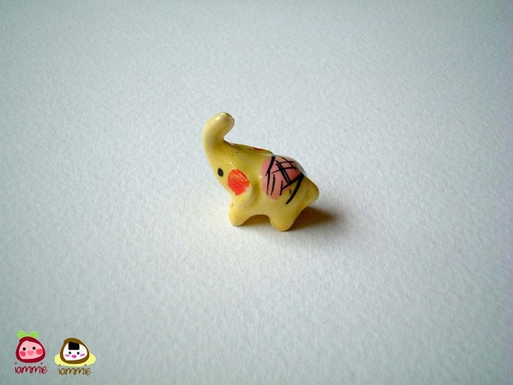 Little Yellow Ceramic Elephant: mini animal, ceramic animal, tiny animal, small animal, little animal, miniature animal, iammie, lammie