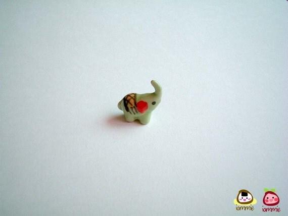 Miniature Light Green Ceramic Elephant Figure, ceramic elephant, miniature ceramic animal, miniature elephant, little animal