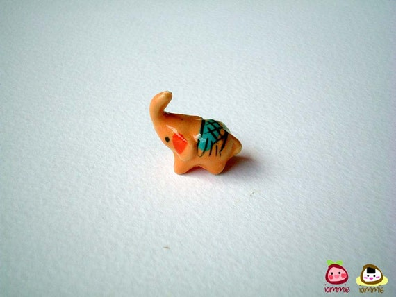 Miniature Elephant Figure, Orange Brown Ceramic Elephant, miniature ceramic animal, animal figure, miniature elephant, little animal, iammie