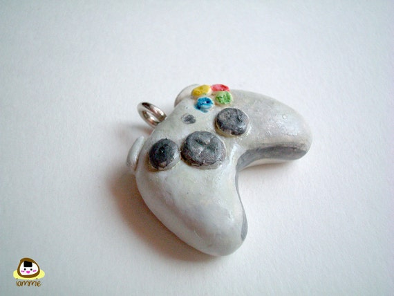 Miniature Clay Xbox 360 Controller Charm, pendant, videogame, gift box, mini, tiny, boy, toy, dollhouse, grey, gray, accessories, OOAK