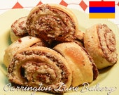Armenian Sweet Nazook 1 doz.  2 inch Chocolate and Almond Filled Rolled Cookies