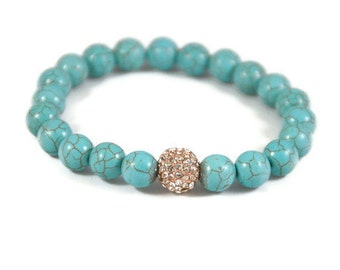 Turquoise Gemstone Bead Bracelet and Rose Gold Pave Crystal Ball
