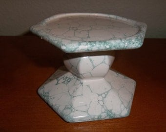 Marbled Green/White Candleholder-FREE Shipping