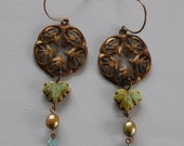 Vintage Stamped Brass Earrings with gold pearl drop
