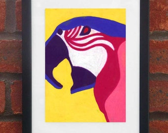 Parrot - A5 original oil pastel drawing