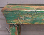 Country Style Heavy Distressed Green Side Table, rustic entry table, reclaimed wood primative