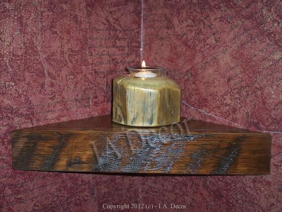ReClaimed Wood Corner Shelf, Barn Wood, Barnwood Shelf, Rustic, Floating Wood corner shelf