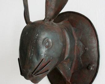 Handmade Iron Bunny Bust or Coat Rack