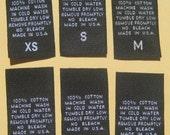 250 pcs Black Woven Clothing Labels, Care Label - 100% Cotton XS, S, M, L, XL, XXL (41 pcs each)