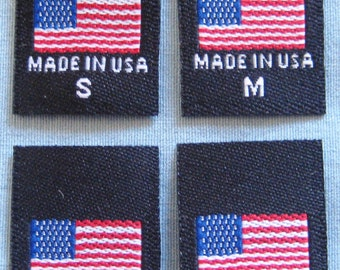 100 pcs Black American Flag - Made in USA, Red White & Blue Woven Clothing Labels S M L XL