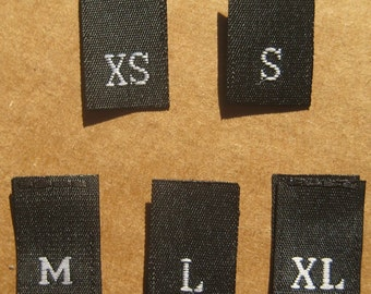 Mixed Lot of 125 pcs BLACK Woven Clothing Labels, Size Tags - XS S M L XL - 25 pcs each size