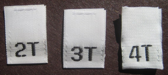 Mixed Lot of 100 pcs White Woven Clothing Labels, Size Tags - 2T 3T 4T - 33 pcs each size