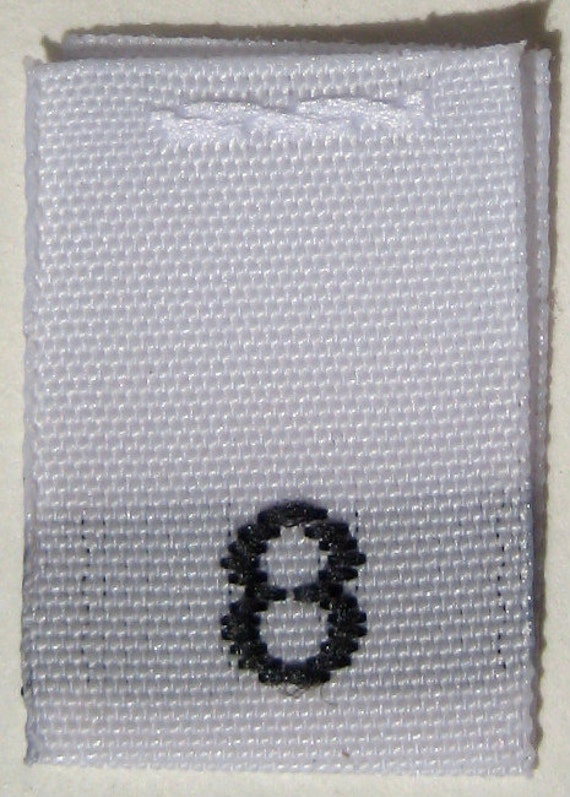 50 pcs White Woven Sew Clothing Labels, Toddler Size Tags -  Size 8 - Eight
