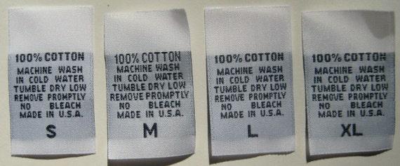 1000 pcs  White Woven Clothing Labels, Care Label - 100% Cotton S, M, L, XL (250 pcs each)