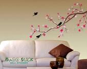 Decal blossom branch and birds wall sticker nursery