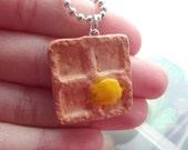 Waffle Polymer clay/Fimo Necklace Handmade.