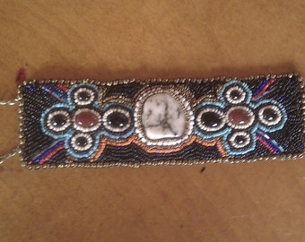 Beaded Cuff with White Howlite center Stone