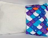 Dragon Feathers 3D art pillow cover/ modern pillow/ decorative pillow case/ throw pillow cover/ cojin decorado, monaco blue to orange