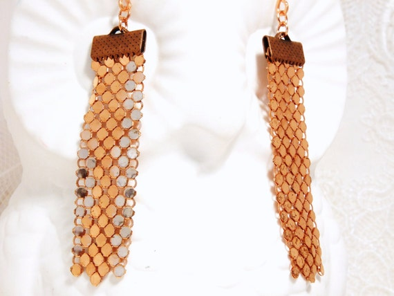 Copper Mesh Disco Dangles, Upcycled Vintage