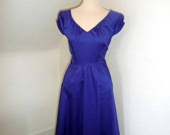 Cecile Dress in Sapphire Cotton Sateen