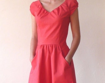Cecile dress in Pink Coral Dots