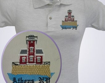 LIGHTHOUSE shirt  TEE polo or tank -  Embroidered ATHENS New York with name if desired