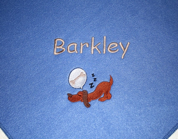 "Handcrafted Personalized Pet Blanket for Dog Cat Puppy.  Periwinkle Fleece.  Embroidered Dreaming Dog.  Approx. size 20"" x 28"""