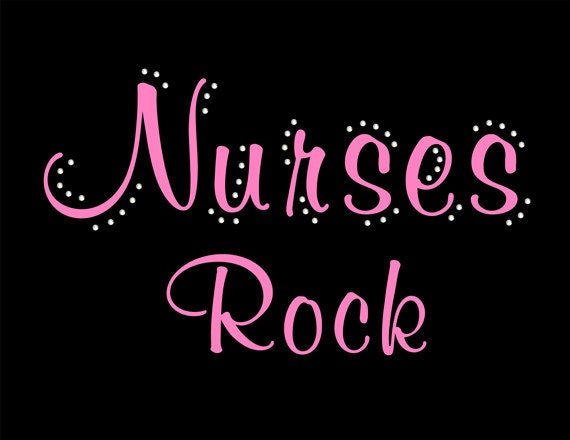 Nurses Rock design with rhinestone bling tee.  T-shirts for Nurses, RN's, LPN's, medical school graduates.  Ladies or Unisex fit t shirt.