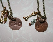 Hand stamped German Shepherd Necklace GSD lover Pink or blue Free shipping