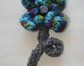 Handmade Brooch Flower - Blue and Grey