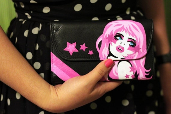 Jem and the Holograms Hand Painted Leather Wallet - by pinkjellyfishy