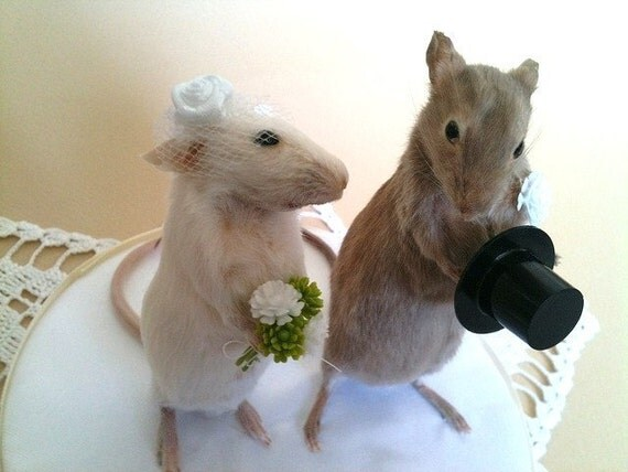 Taxidermy Wedding Mice Cake Topper