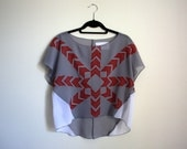 Handprinted Top, Sheer Blouse, Womens Shirt, Chevron Print tshirt - peoplelikeart
