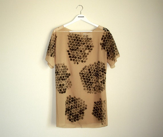 SALE 40% OFF, Handprinted Dress, Sheer Dress, Womens Tunic, Shift Dress