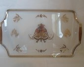 Vintage Georges Briard Large Glass Wooh Handled Serving Tyay  Party Tray  Gold Doves  White Polka Dots   Mid Century   Modern  Bareware