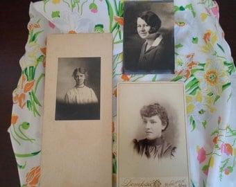 vintage women's photos set of three