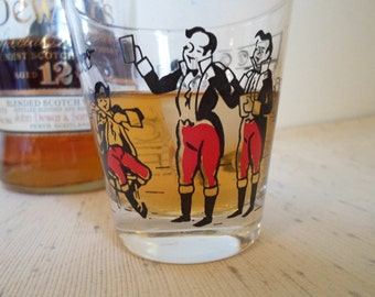 ON SALE Vintage Libby Rocks glass  Shot glass  Bar glass   Made in America  Tavern scene in red and black
