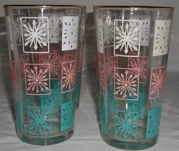 Reserved for Janee Set of 4 vintage retro water glasses torquoise, pink and white pattern 12 oz.