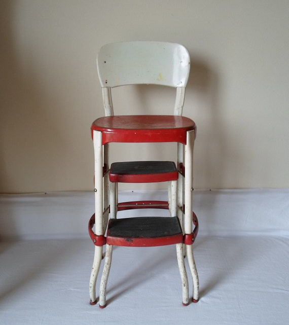 Vintage Cosco Chair With Step Stool Red And By
