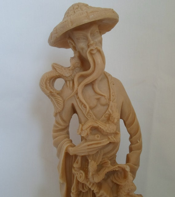 Vintage Faux Ivory Chinese Infiuenced Statue Old Man With Cane  Art  Asian Statue