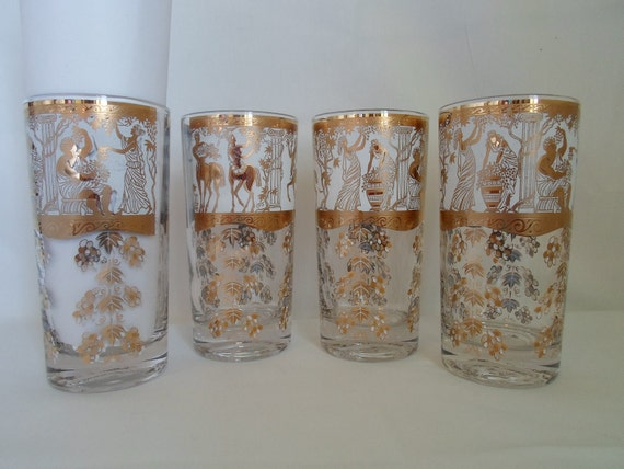 Vintage Mid Century Modery Set of Four Greek Figure Bar Glass  Barware  Greacian Roman Figures   Gold  White  Highball