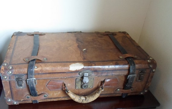 Antique Vintage Leather Suitcase  Brown Leather  Shabby Chic  Cottage Chic