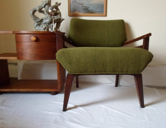 Vintage   Mid Century  Modern Lounge Chair  Upholstered Armchair   Wood Armchair  Contemporary