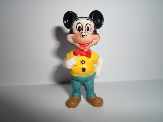 """vintage plastic Mickey Mouse I'm only 2 1/4"""" tall"""