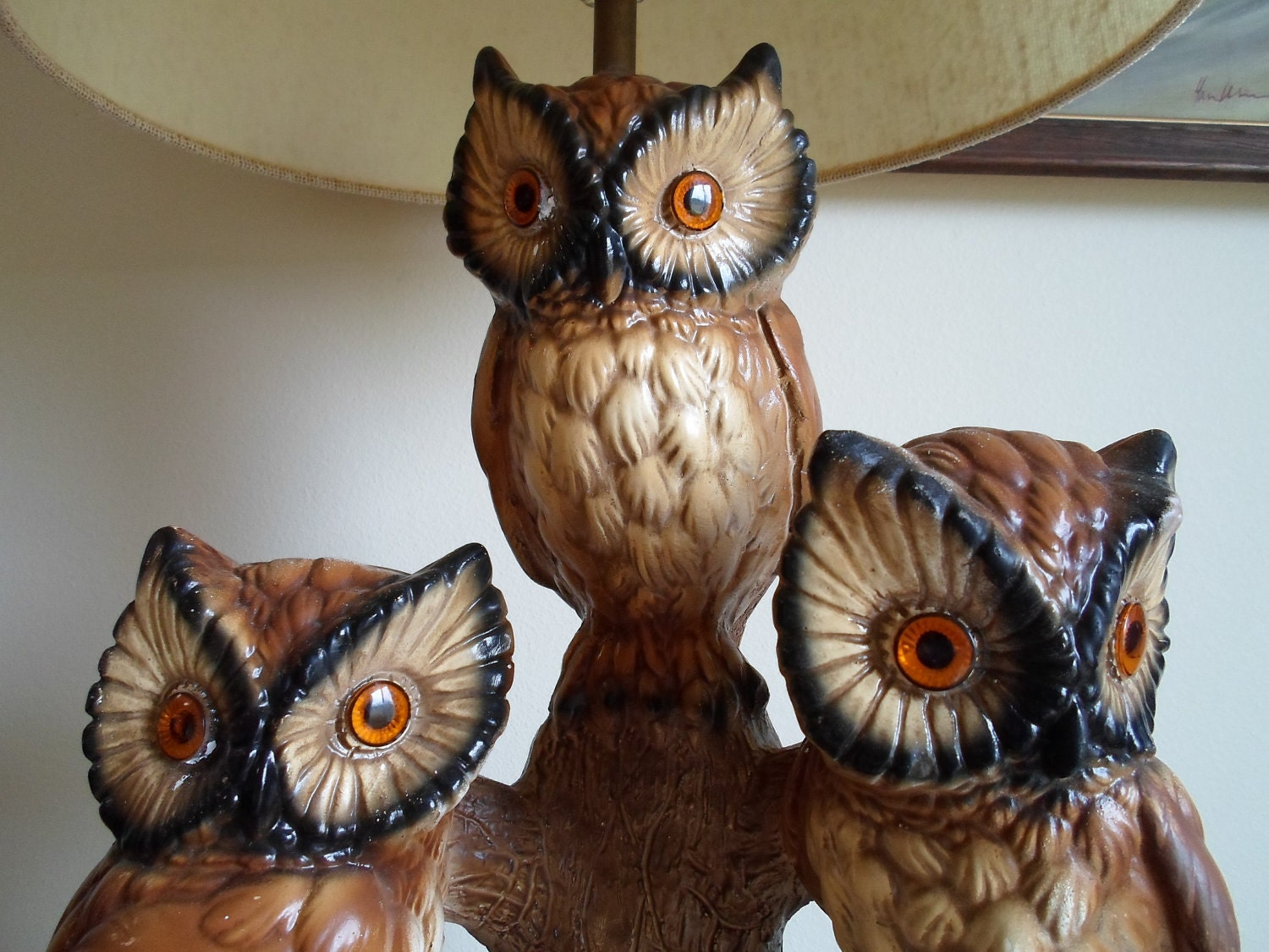 Vintage Owl Table Lamp With Shade Very Retro Three Owls