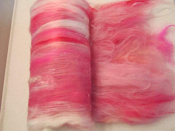 Fiber art batt for spinning felting: BALLERINA 3.5 oz. llama, panda, tencel, bamboo, mohair, merino, colonial, Angelina