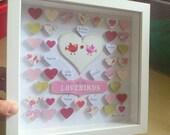 Wedding Lovebirds Gift 3D Framed Art with Hearts