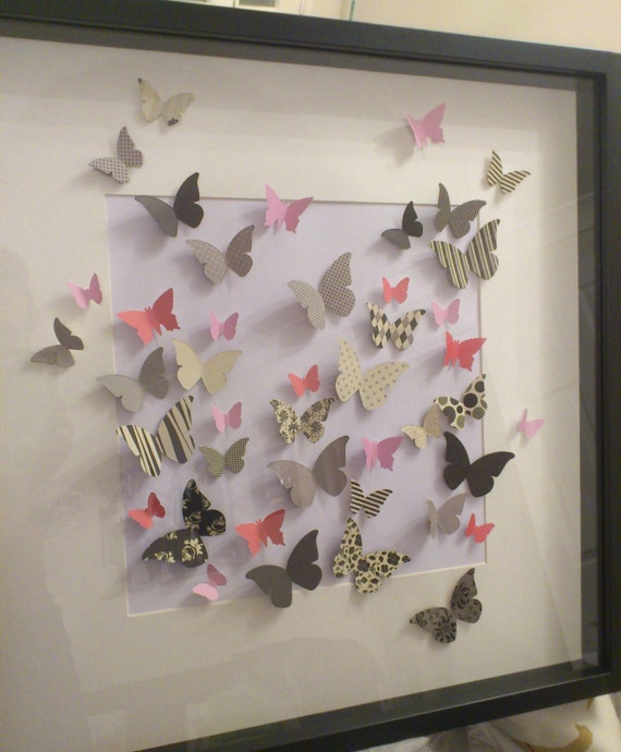 Items similar to butterfly 3d wall art unframed paper for 3d wall butterfly decoration